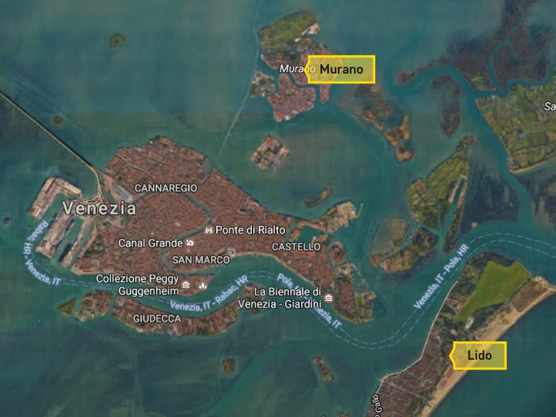 Murano a Lido - mapa